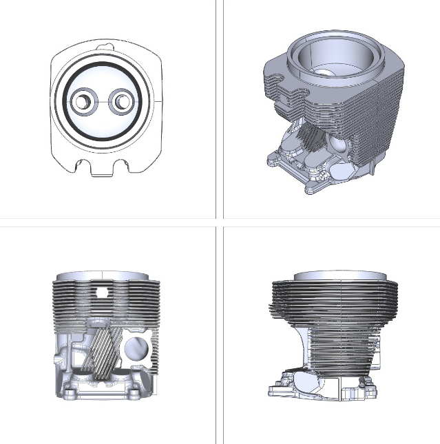 Four perspectives of a cylinder head