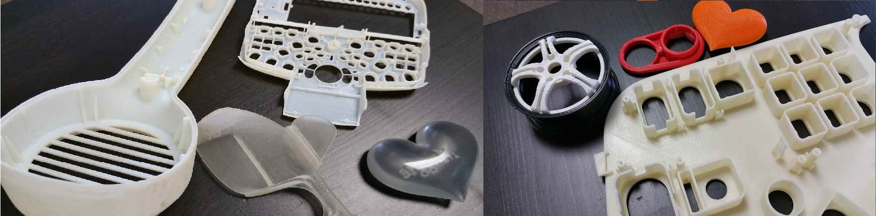 ABS and Polyjet 3D printed parts