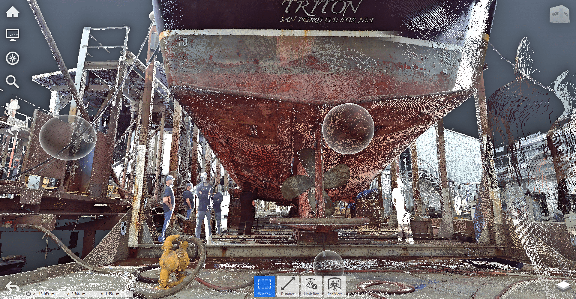 recap point cloud of boat