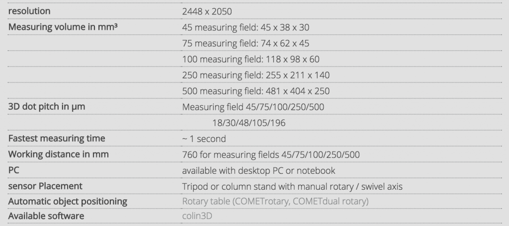 3D Scanning Comet L3D 2 Tech Spec Sheet