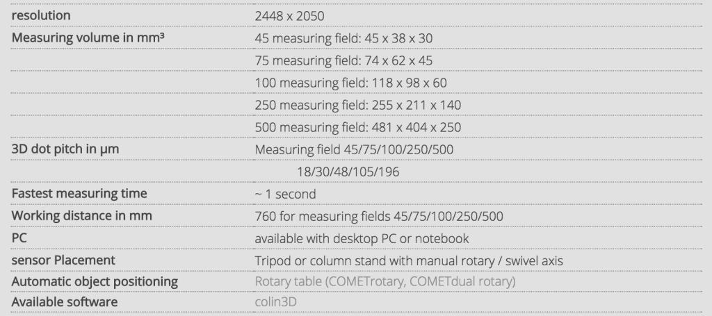 3D Scanning Comet L3D 2 Tech Spec Sheet