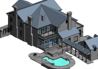 elevated view of house 3d model